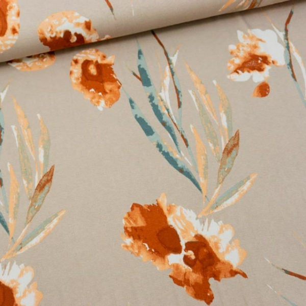 Viskosejersey Watercolor Blossoms beige