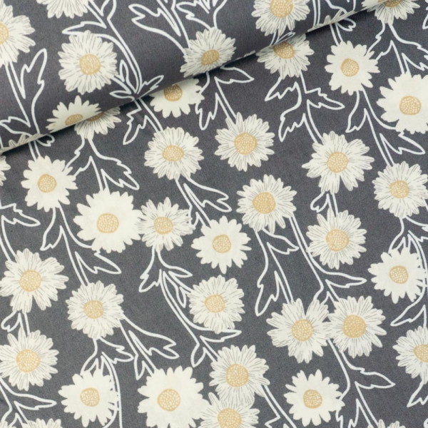 Baumwollwebware Sonnenblume grau