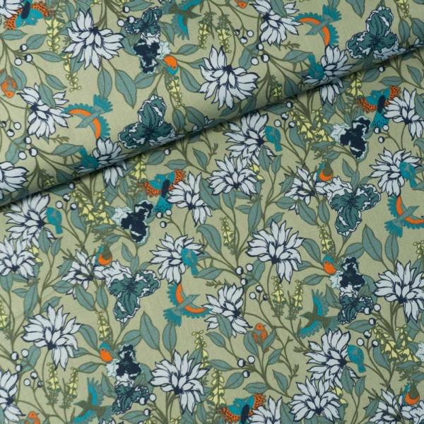 Baumwollwebware Vögel auf Blumen dusty mint