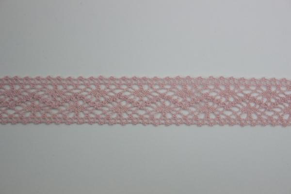 Baumwoll Spitzenborte rosa 2,5cm Ökotex 100