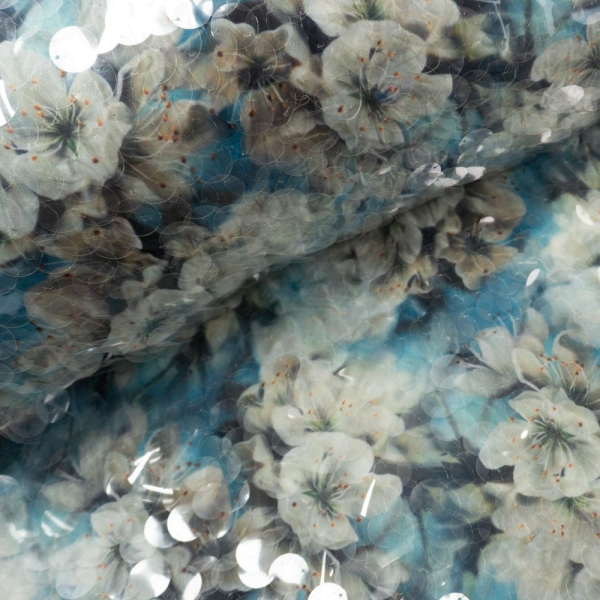 Pailletten Chiffon Amaryllis türkis