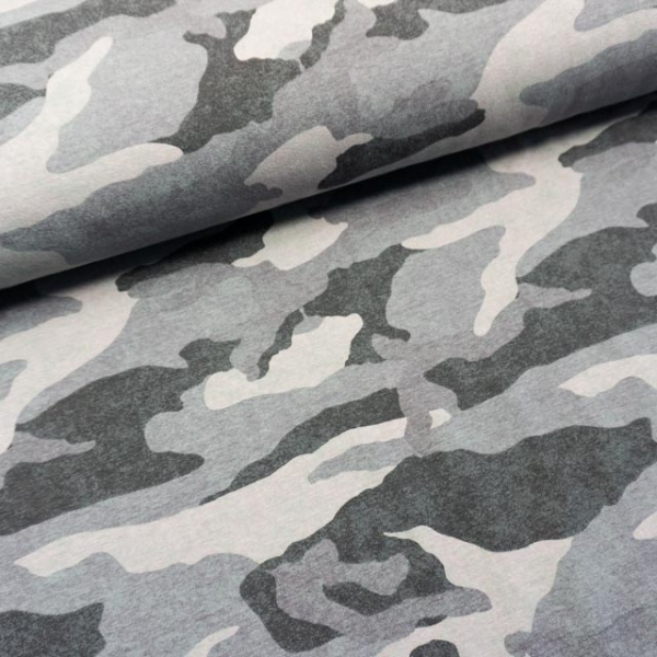 Sommersweat French Terry Camouflage USED grau