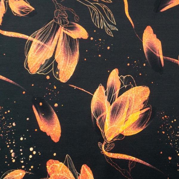 Bio-Baumwolljersey Magnolienzauber schwarz