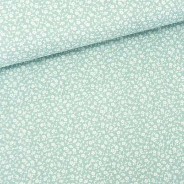 Baumwollwebware Little Flowers dusty mint