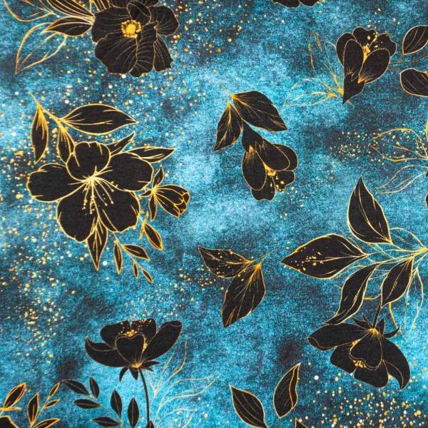 Bio-Baumwolljersey Melange Blackflower jeansblau