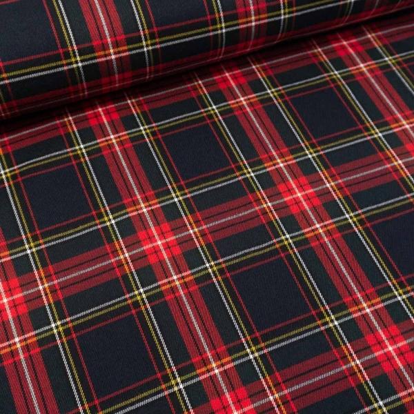 Twill Wool Touch Schottenkaro rot-grün-navy