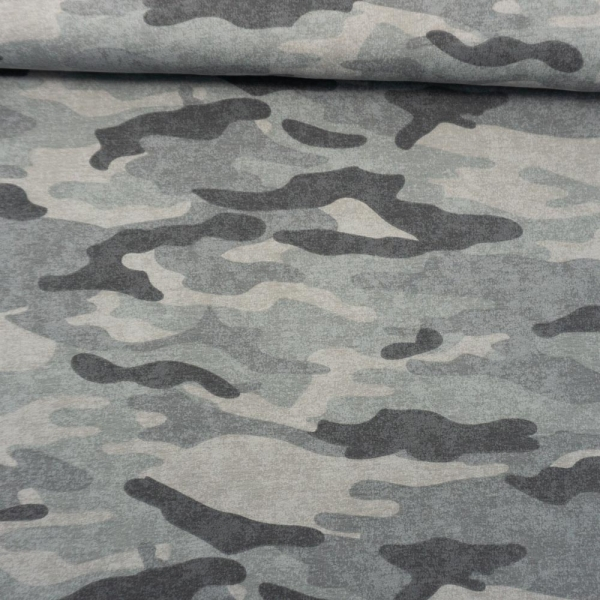Sweat French Terry ANGERAUT Camouflage USED grau