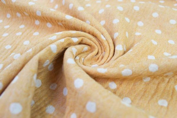Musselin Doubleface DOTS senf Ökotex 100 100% Cotton