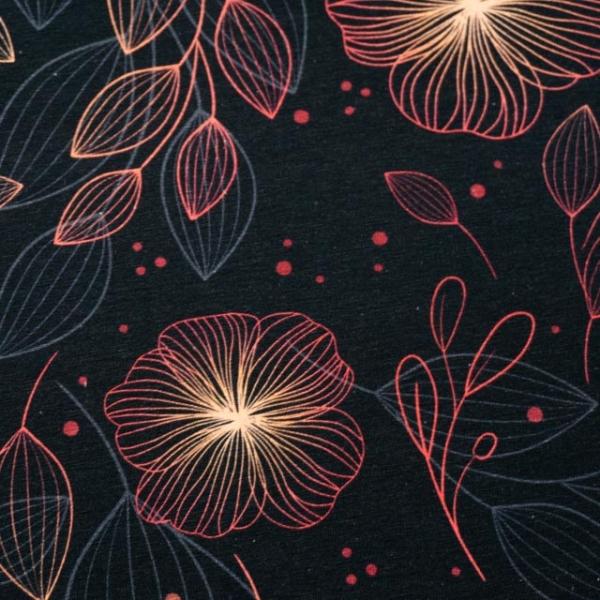 Bio-Baumwolljersey Shining Blossom dark navy-rosegold