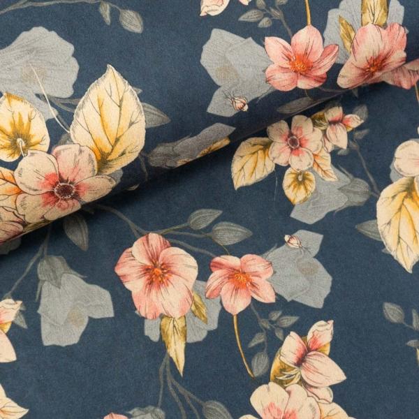 Velourlederjersey Blossom jeansblau dunkel