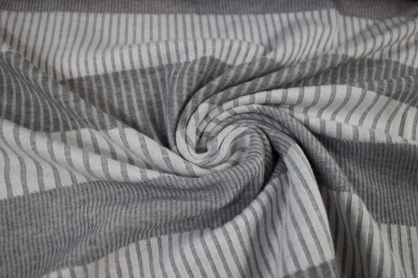 Jacquard-Jersey Stripes grau melange