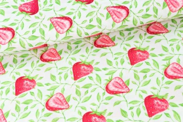 Baumwollwebware Popeline Erdbeeren weiß Ökotex 100