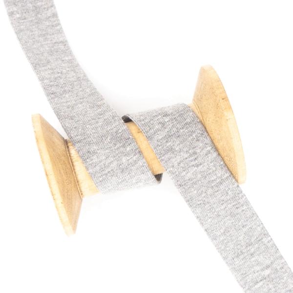 Jersey Schrägband Deluxe mittelgrau-meliert