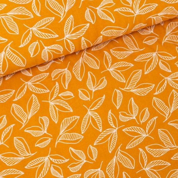 Viskosewebware Pfingstrosen Blätter senf