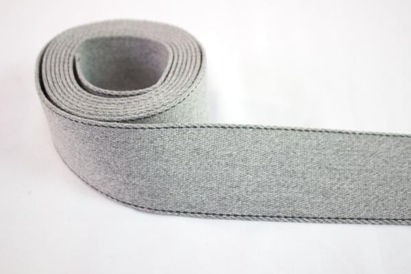 Edles Gurtband 40mm hellgrau meliert - anthra abgesteppt Ökotex 100