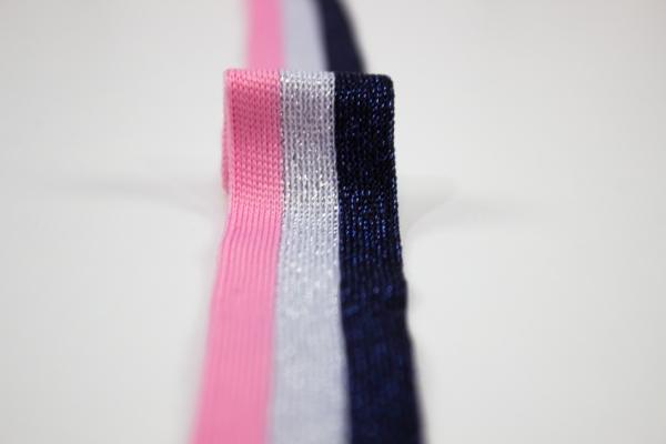 Galonband Glam navy-silber-rosa Ökotex 100