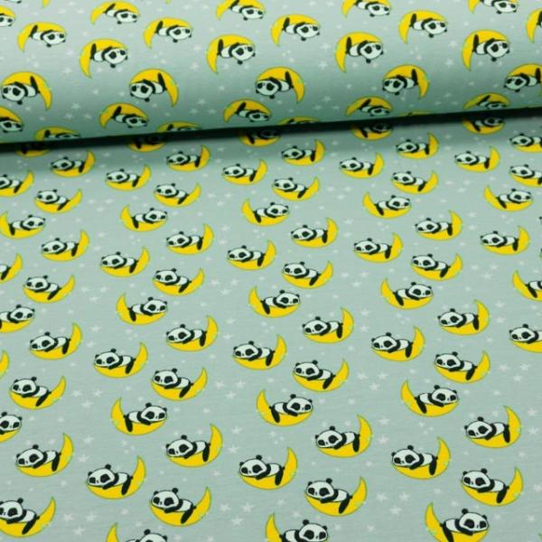 Baumwolljersey Sleepy Panda mint