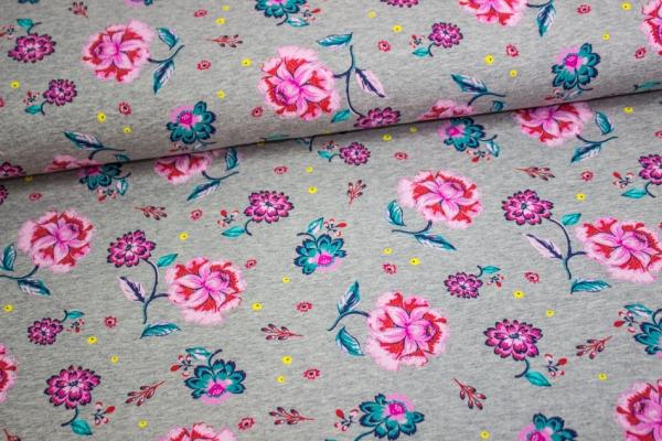 Jersey-Sweat angeraut Blumenliebe grau meliert - rose Öko Tex100