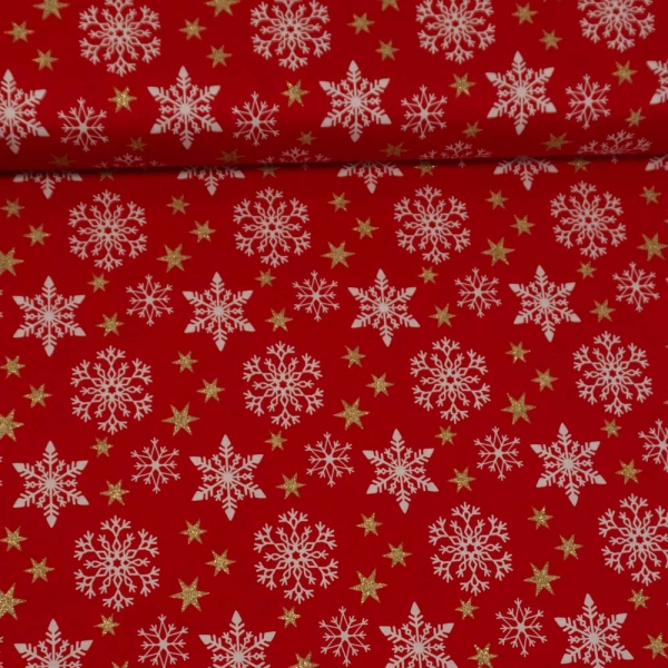 Baumwollwebware Schneeflocken und Sterne Glitzerdruck rot