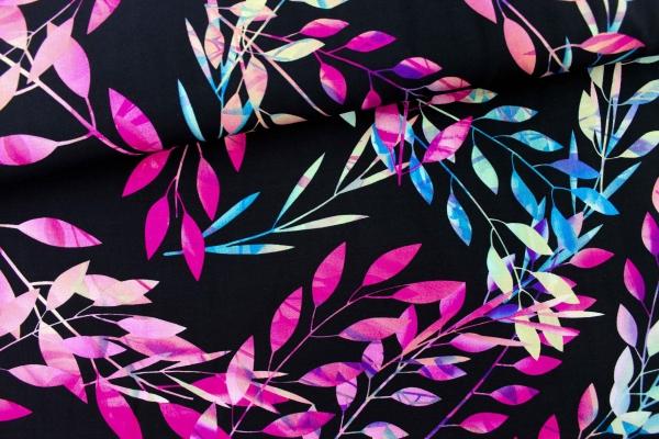 Viskose Blätterranke aquarell Ökotex 100