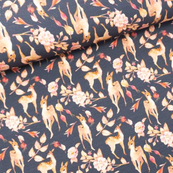 Baumwolljersey Digital Reh Im Herbst jeansblau dunkel