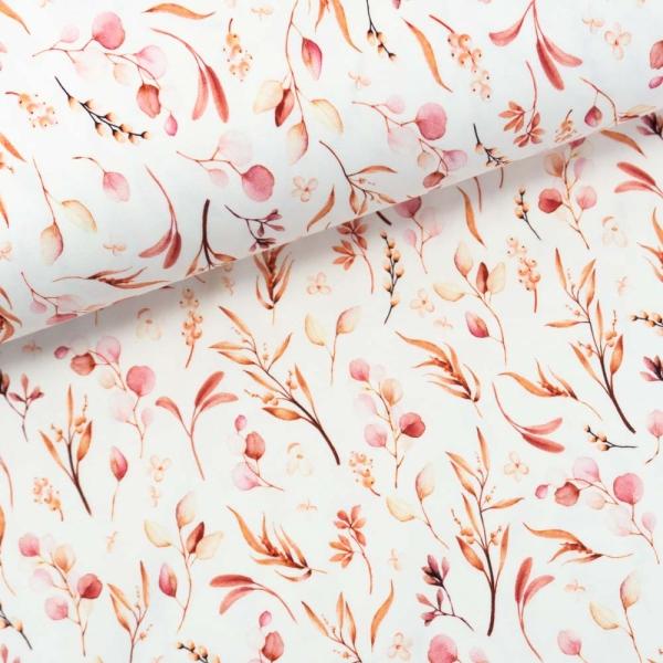 Baumwolljersey Digital Eukalyptus Leaves rosè
