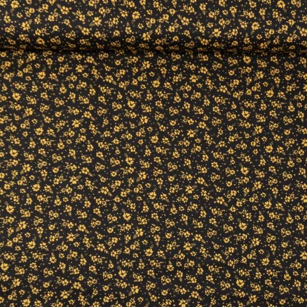 Baumwollwebware kleine Blümchen schwarz