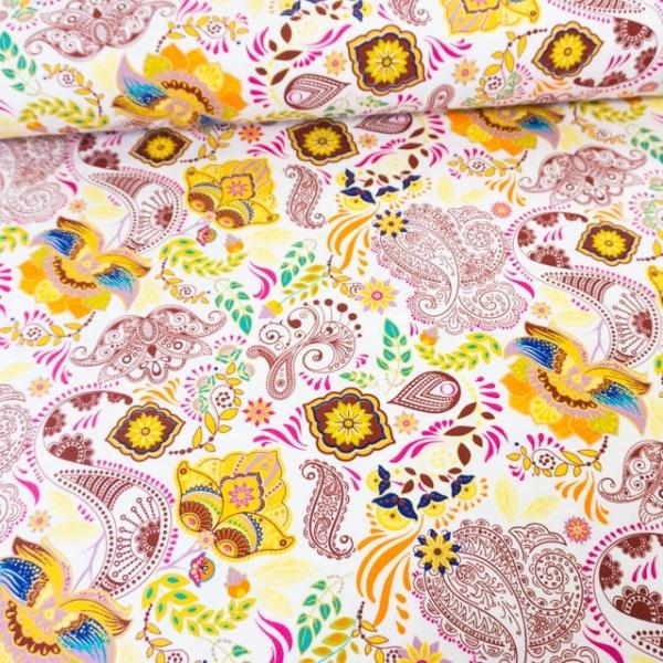 Baumwolljersey Fine Ornamental Flowers weiß
