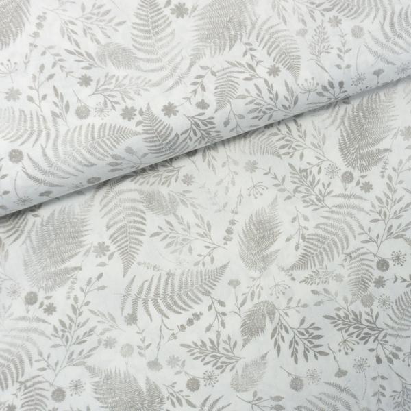 Baumwollwebware Italienische Kollektion Leaves weiß-grau Ökotex 100