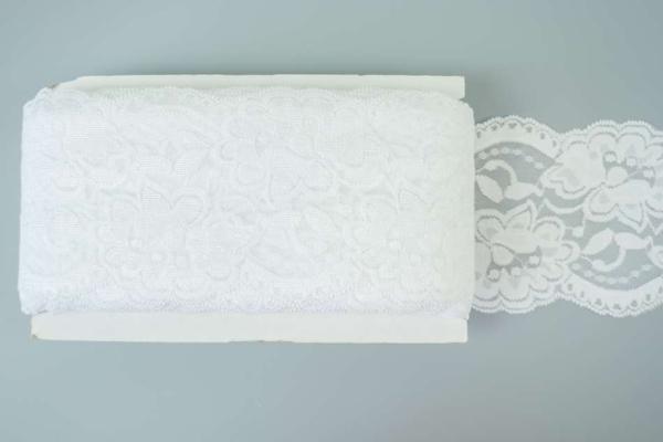 Elastische Spitzenborte Rosen weiß 8cm