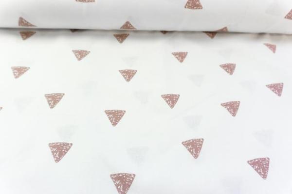 Baumwolle/Webware Drawing Triangle weiß-altrosa Ökotex 100