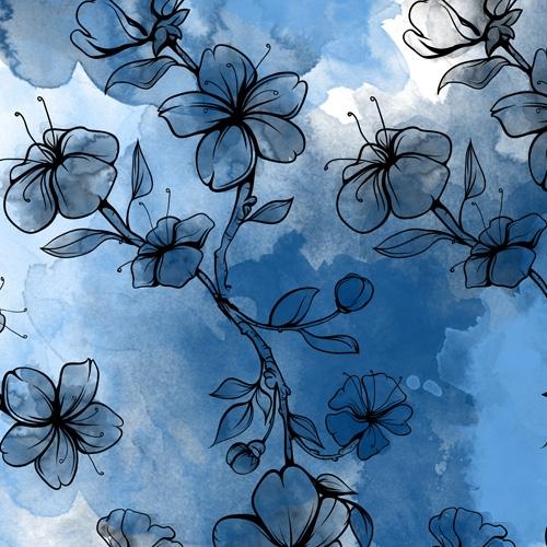 Bio-Sweat French Terry Aquarell Blossom jeansblau-schwarz Ökotex 100
