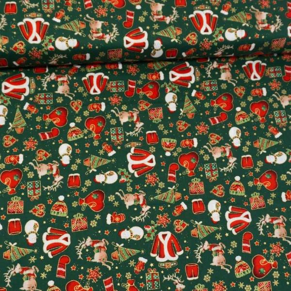 Baumwollwebware Weihnachtsträume tannengrün