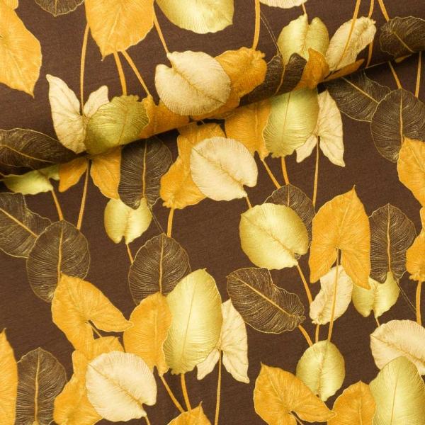Viskosejersey Digital Herbstliche Blätter braun