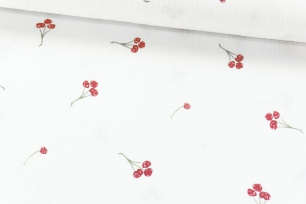 Musselin Double Gauze Drawing Cherries reinweiß 100% Baumwolle Ökotex 100