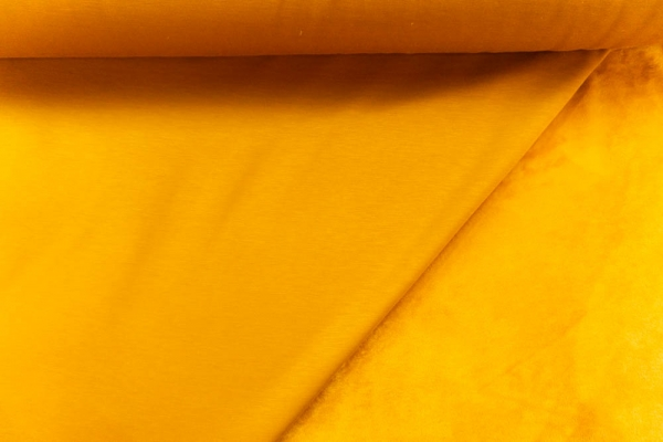 Alpenfleece Sweat Uni senfgelb Ökotex 100 - ohne Polyester -