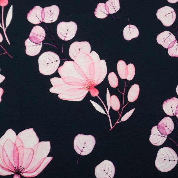 Bio-Baumwolljersey X-Ray Flowers dark navy