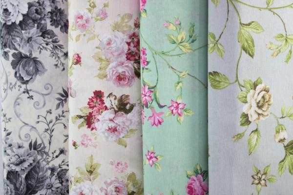 Canvas Blumenranke hellgrau-grün-taupe 100% Baumwolle Ökotex 100