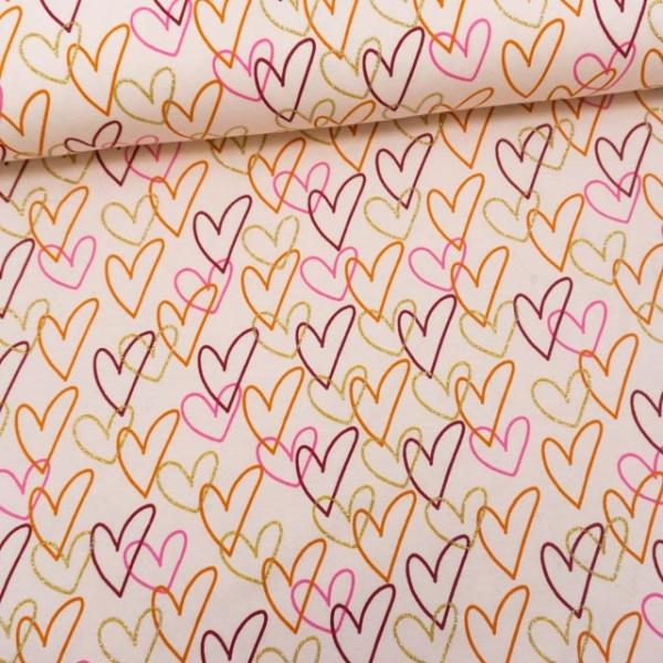 Baumwolljersey Glitterhearts rosa