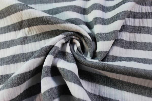Musselin Double Gauze Stripes schwarz 100% Baumwolle Ökotex 100