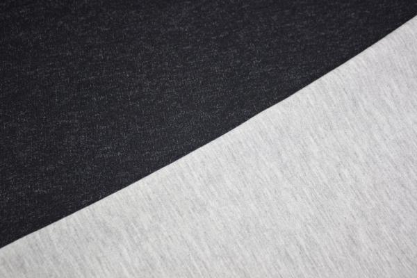 Baumwollsweat Doubleface schwarz-hellgrau meliert Öko Tex 100