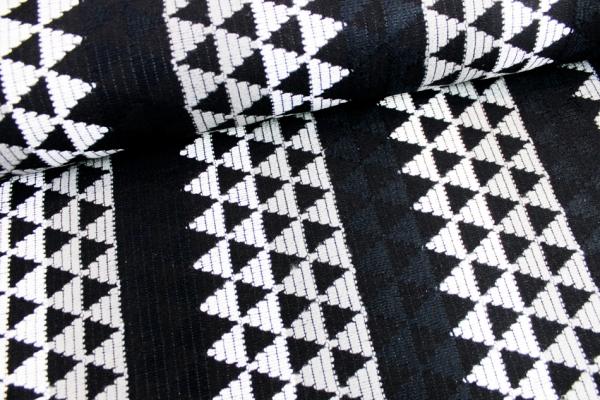 Strick Jacquard Dreiecke schwarz-anthra-weiß Ökotex 100