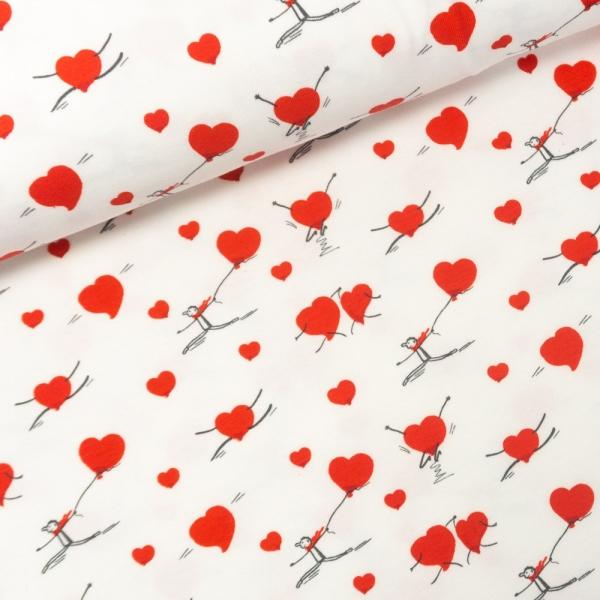 Baumwolljersey Happy Heart weiß