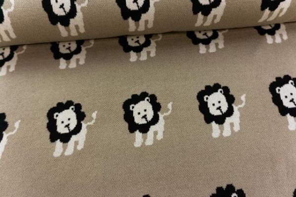 Strick-Jersey 100 % Baumwolle schwer Löwe beige Ökotex100