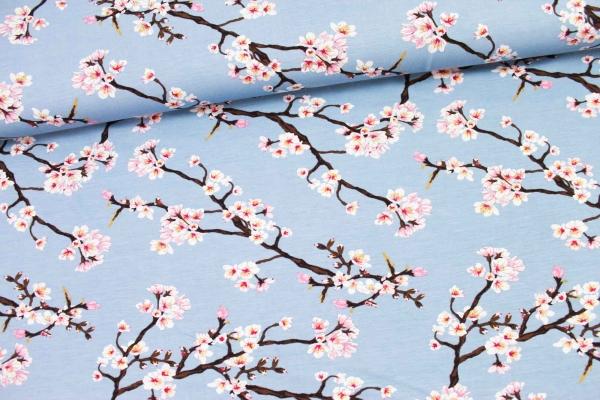 Modaljersey Blütenstränge hellblau Öko Tex 100