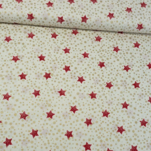 Baumwollwebware Christmas Snowflakes And Stars ecru