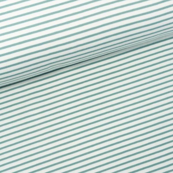Baumwolljersey Small Stripes weiß-dusty mint