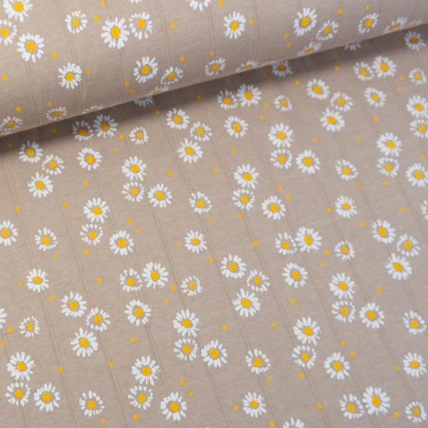 Musselin Jersey Double Gänseblümchen beige