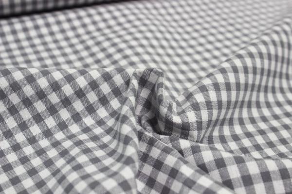 Baumwolle Vichy klein grau/weiß Öko Tex 100