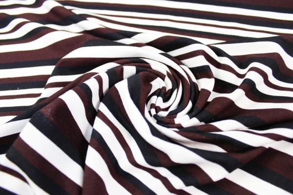 Viskosejersey Stripes braun-schwarz Ökotex 100